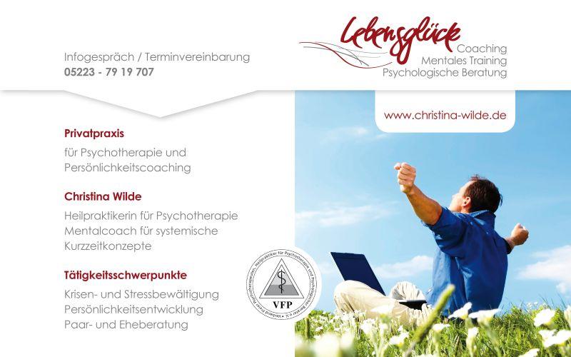 Praxistür-Schild Privatpraxis Lebensglück Coaching Christina Wilde